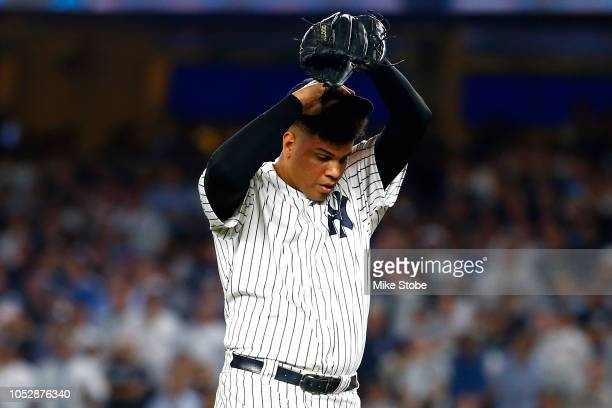 Dellin Betances of the New York Yankees reacts against the Boston Red Sox during the eighth inning in Game Four of the American League Division...