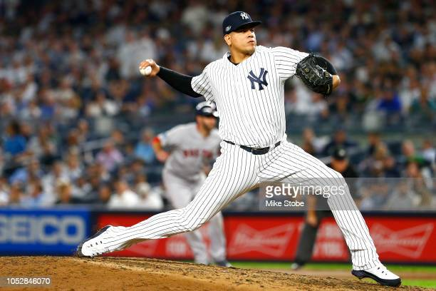 Dellin Betances of the New York Yankees throws a pitch against the Boston Red Sox during the seventh inning in Game Four of the American League...