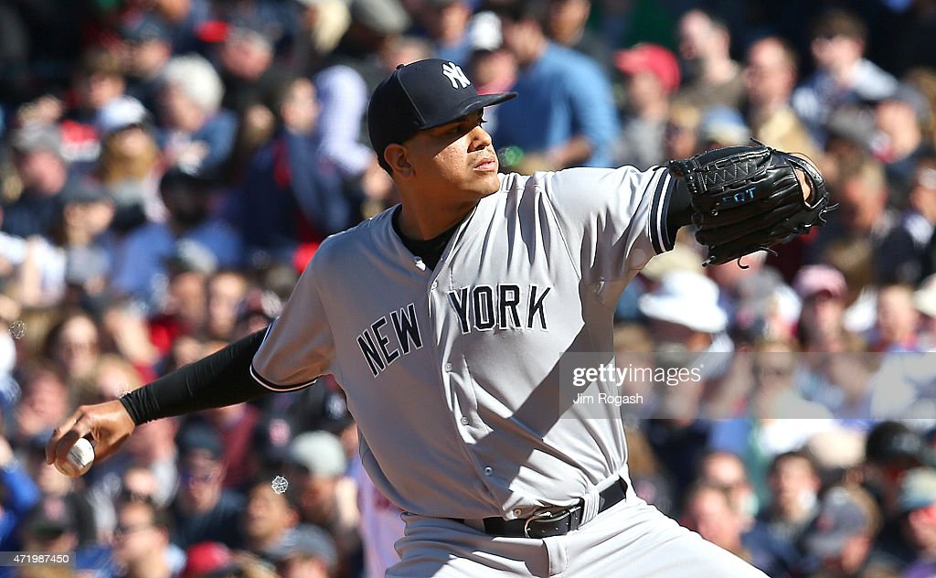 Dellin Betances #68 of the New York Yankees throws in relief in the ninth inning against the Boston Red Soxat Fenway Park May 2, 2015 in Boston, Massachusetts.
