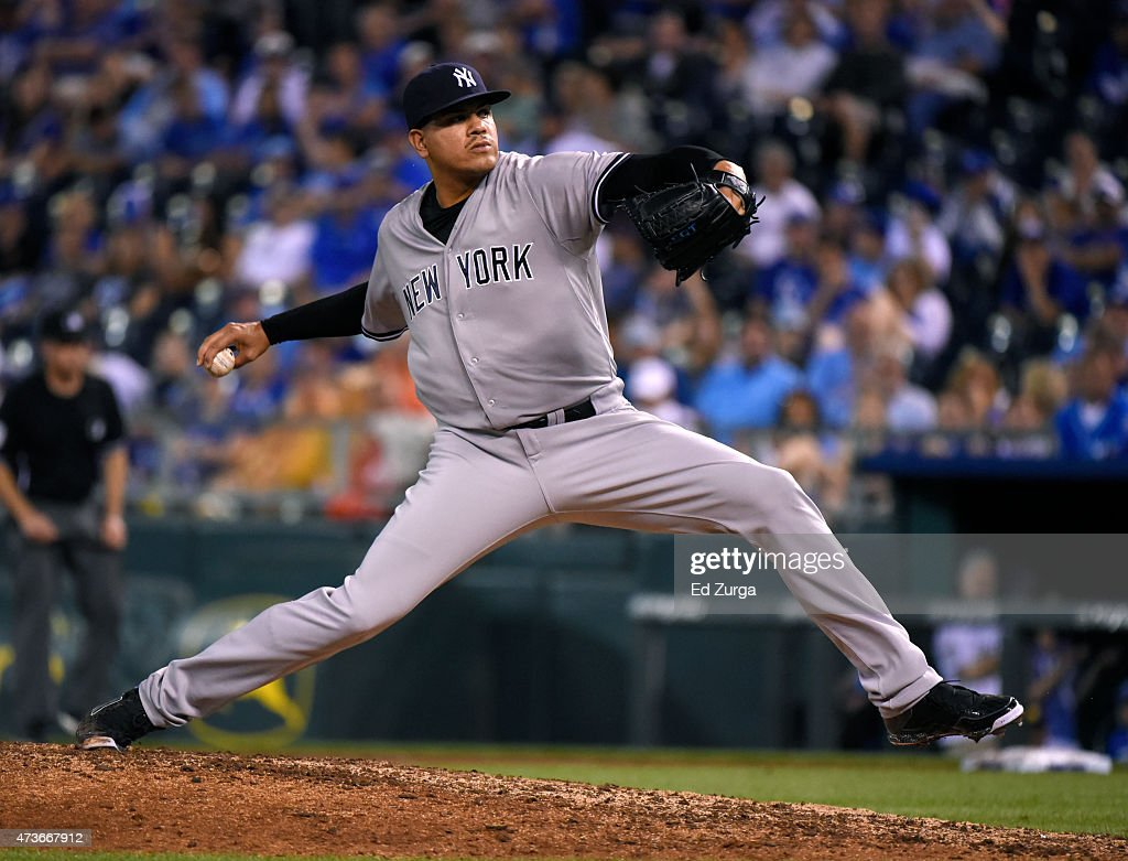 Dellin Betances #68 of the New York Yankees throws in the eighth inning against the Kansas City Royals at Kauffman Stadium on May 16, 2014 in Kansas City, Missouri.