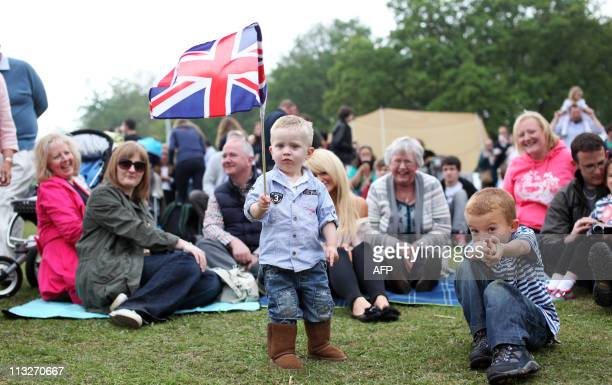 Dellon Day celebrates the royal wedding at a Tea in the Park event in Kate Middleton's home village of Bucklebury Berkshire on April 29 2011 AFP...