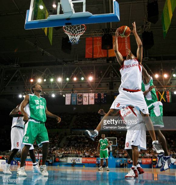 Delme Herriman of England graps a rebound in the men's bronze medal basketball game between England and Nigeria at the Melbourne Park Multi Purpose...