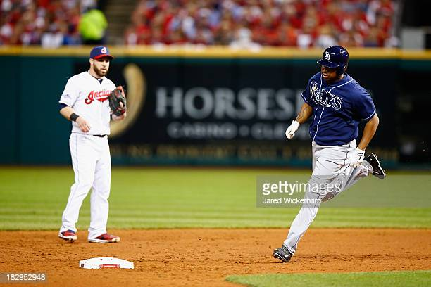 Delmon Young of the Tampa Bay Rays runs around second base after he hit a solo home run in the third inning against Danny Salazar of the Cleveland...
