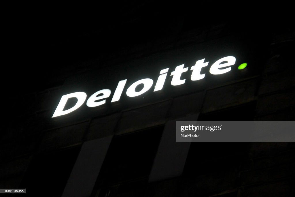 Deloitte Logo can be seen outside their office in DLF Cyberhub in