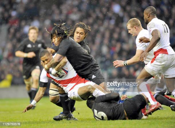 Delon Armitage and Ma'a Nonu during England v New Zealand Rugby Union at Twickenham 29th November.