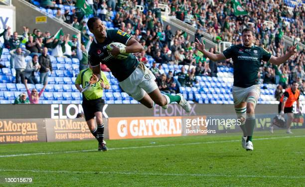 Delon Armitage of London Irish dives over to score a try during the LV= Cup match between London Irish and Newcastle Falcons at The Madejski Stadium...