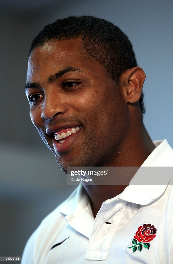 Delon Armitage, who has been selected to play on the left wing for England in their first match of the World Cup against Argentina, talks to the media during an England IRB Rugby World Cup 2011 team announcement at the Southern Cross Hotel on September 8, 2011 in Dunedin, New Zealand.
