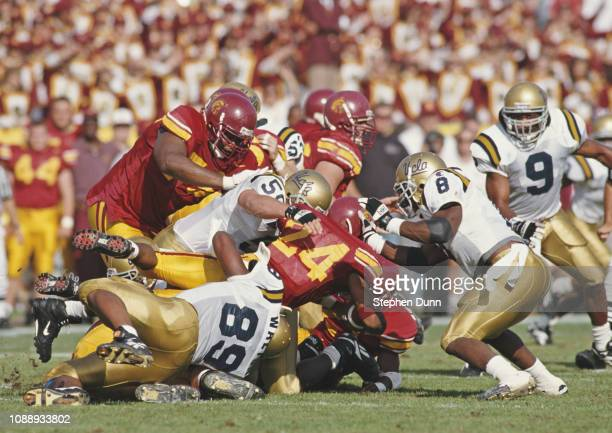 Delon Washington Running Back for the University of Southern California USC Trojans is tackled running the ball during the NCAA Pac10 Conference...