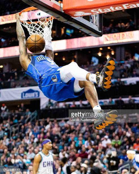 Delon Wright of the Dallas Mavericks dunks the ball during the second quarter during their game against the Charlotte Hornets at Spectrum Center on...