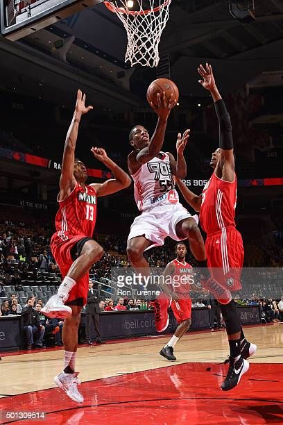 Delon Wright of the Raptors 905 drives to the basket against the Maine Red Claws at the Air Canada Centre on December 11 2015 in Toronto Ontario...
