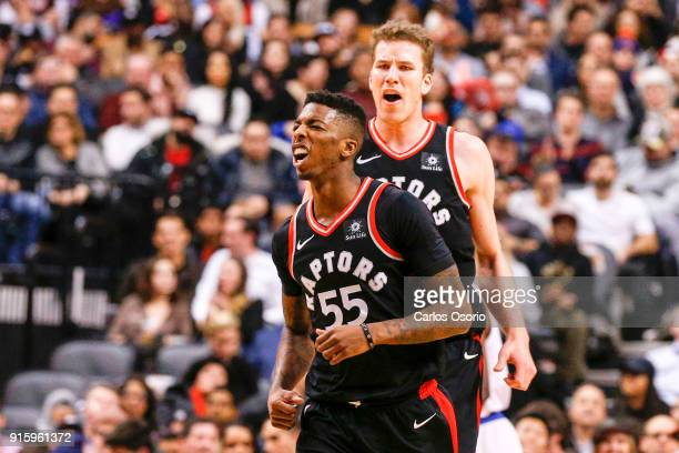 TORONTO ON FEBRUARY 8 Delon Wright of the Raptors and Jakob Poeltl celebrate after a basket during the 2nd half of NBA action as the Toronto Raptors...
