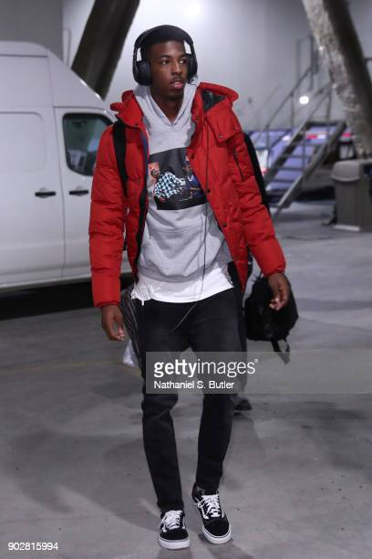 Delon Wright of the Toronto Raptors arrives before game against the Brooklyn Nets on January 8 2018 at Barclays Center in Brooklyn New York NOTE TO...