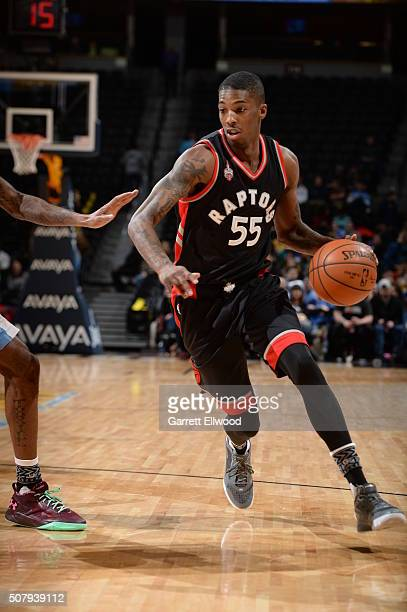 Delon Wright of the Toronto Raptors dribbles the ball against the Denver Nuggets on February 1 2016 at the Pepsi Center in Denver Colorado NOTE TO...