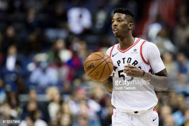 Delon Wright of the Toronto Raptors dribbles the ball against the Washington Wizards during the first half at Capital One Arena on February 01 2018...
