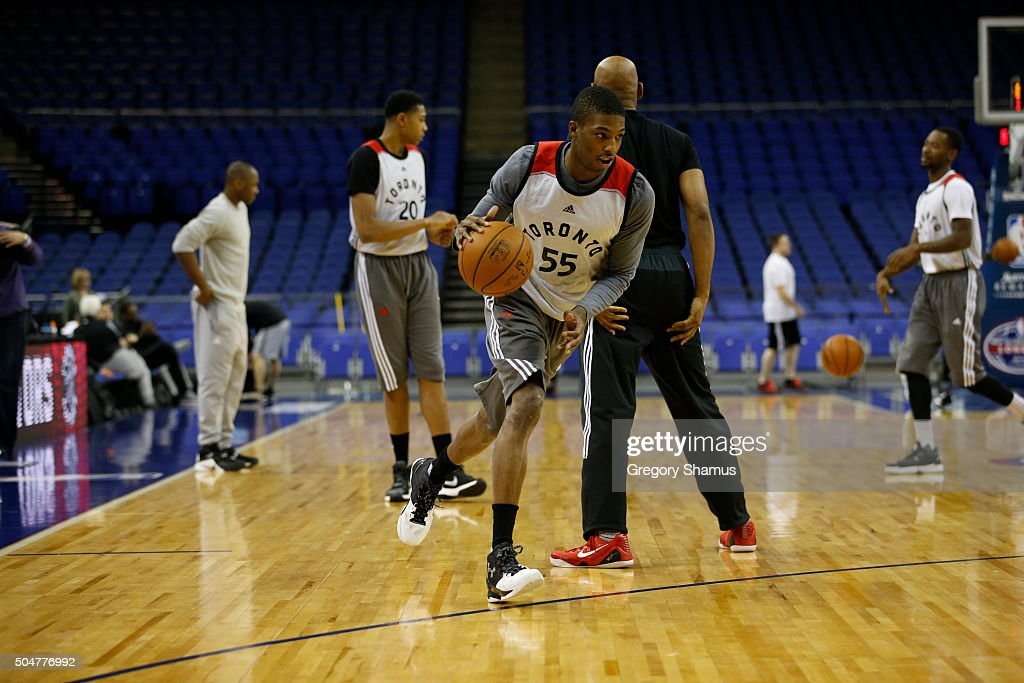 Delon Wright of the Toronto Raptors drives during practice as part of the 2016 Global Games London on January 13, 2016 at The O2 Arena in London, England.
