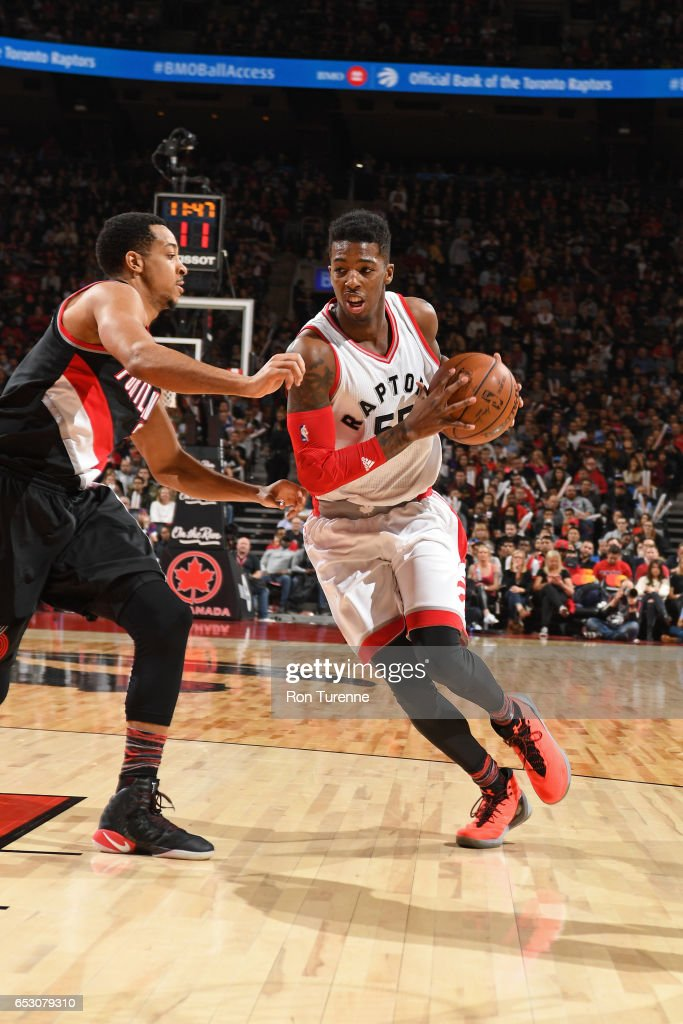 Delon Wright #55 of the Toronto Raptors drives to the basket against the Portland Trail Blazers on February 26, 2017 at the Air Canada Centre in Toronto, Ontario, Canada.