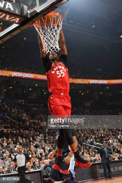 Delon Wright of the Toronto Raptors drives to the basket during the game against the Memphis Grizzlies on February 4 2018 at the Air Canada Centre in...