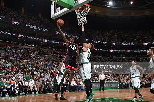 Delon Wright of the Toronto Raptors goes to the basket against Marcus Smart of the Boston Celtics on March 23 2016 at the TD Garden in Boston...