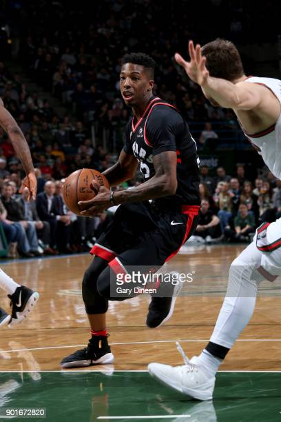Delon Wright of the Toronto Raptors goes to the basket against the Milwaukee Bucks on January 5 2018 at the BMO Harris Bradley Center in Milwaukee...