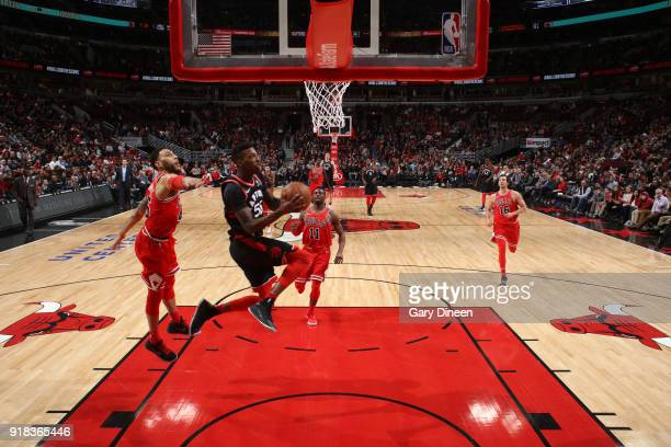 Delon Wright of the Toronto Raptors goes to the basket against the Chicago Bulls on February 14 2018 at the United Center in Chicago Illinois NOTE TO...