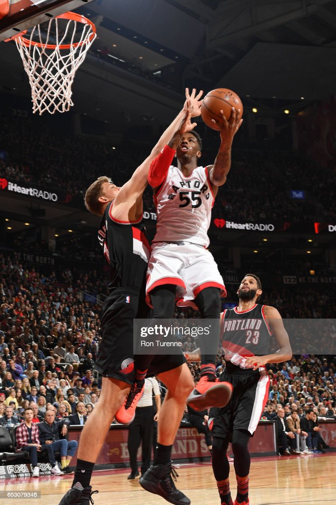 Delon Wright #55 of the Toronto Raptors goes up for a lay up against the Portland Trail Blazers on February 26, 2017 at the Air Canada Centre in Toronto, Ontario, Canada.