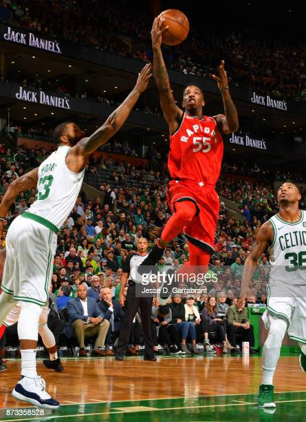 Delon Wright of the Toronto Raptors goes up for the layup during the game against the Boston Celtics on November 12 2017 at the TD Garden in Boston...
