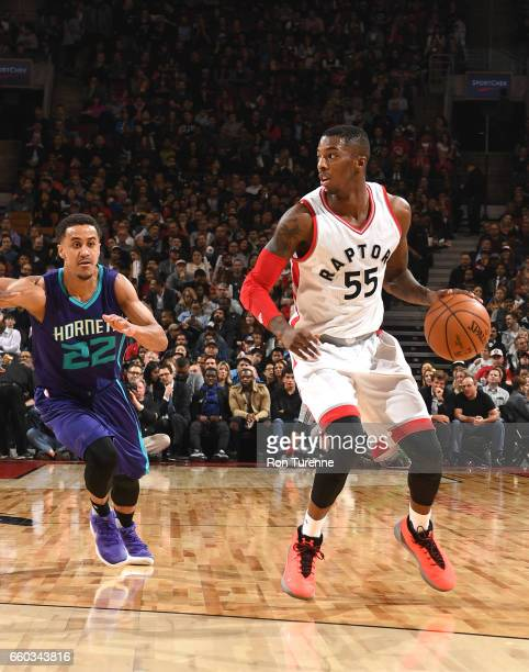 Delon Wright of the Toronto Raptors handles the ball against Brian Roberts of the Charlotte Hornets during the game on March 29 2017 at the Air...