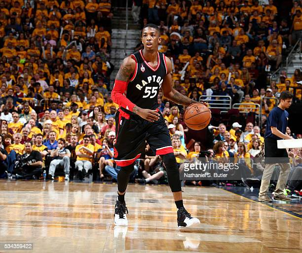 Delon Wright of the Toronto Raptors handles the ball against the Cleveland Cavaliers in Game Five of the Eastern Conference Finals during the 2016...