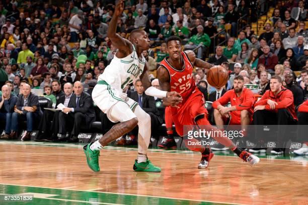 Delon Wright of the Toronto Raptors handles the ball against the Boston Celtics on November 12 2017 at the TD Garden in Boston Massachusetts NOTE TO...