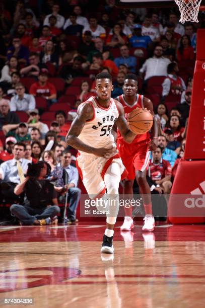 Delon Wright of the Toronto Raptors handles the ball against the Houston Rockets on November 14 2017 at the Toyota Center in Houston Texas NOTE TO...