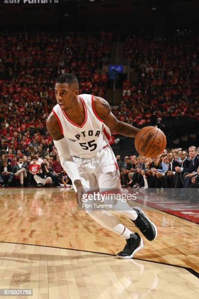 Delon Wright of the Toronto Raptors handles the ball against the Milwaukee Bucks during Game Two of the Eastern Conference Quarterfinals of the 2017...