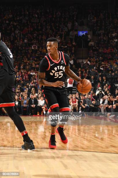 Delon Wright of the Toronto Raptors handles the ball against the Golden State Warriors on January 13 2018 at the Air Canada Centre in Toronto Ontario...