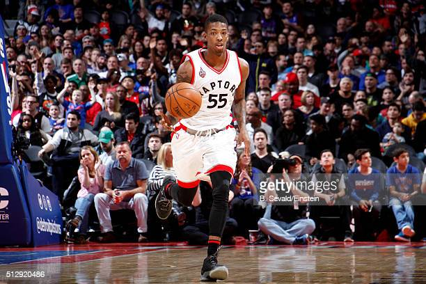 Delon Wright of the Toronto Raptors handles the ball during the game against the Detroit Pistons on February 28 2016 at The Palace of Auburn Hills in...