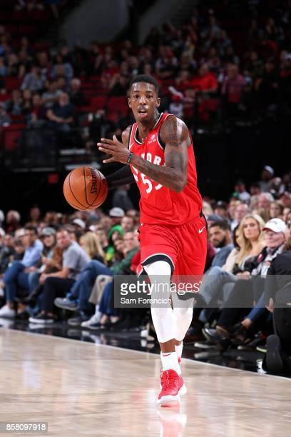 Delon Wright of the Toronto Raptors handles the ball during the game against the Portland Trail Blazers during a preseason game on October 5 2017 at...
