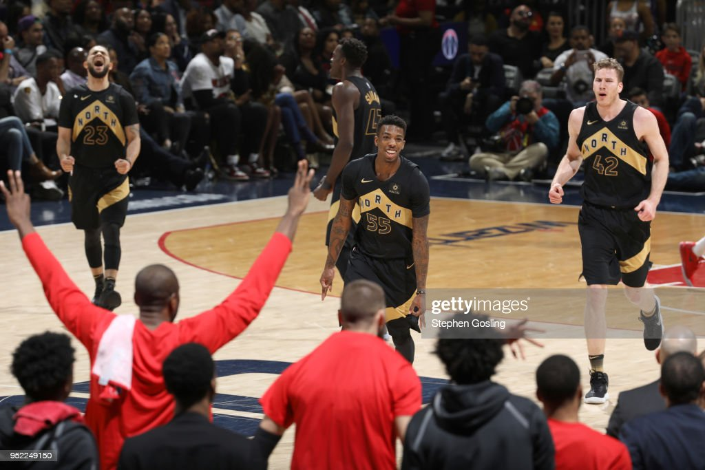 Delon Wright #55 of the Toronto Raptors reacts to a play in Game Six of the Eastern Conference Quarterfinals against the Washington Wizards during the 2018 NBA Playoffs on April 27, 2018 at the Capital One Arena in Washington, DC.