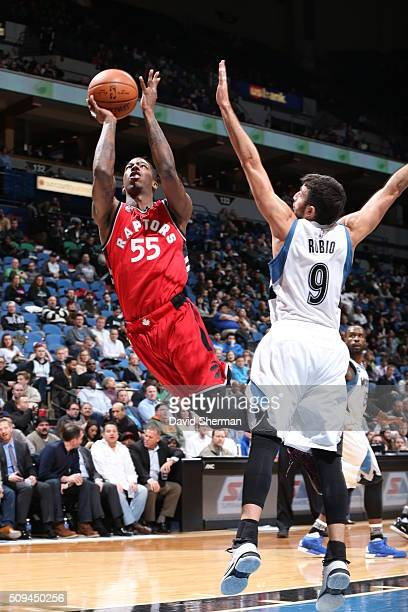 Delon Wright of the Toronto Raptors shoots against Ricky Rubio of the Minnesota Timberwolves on February 10 2016 at Target Center in Minneapolis...