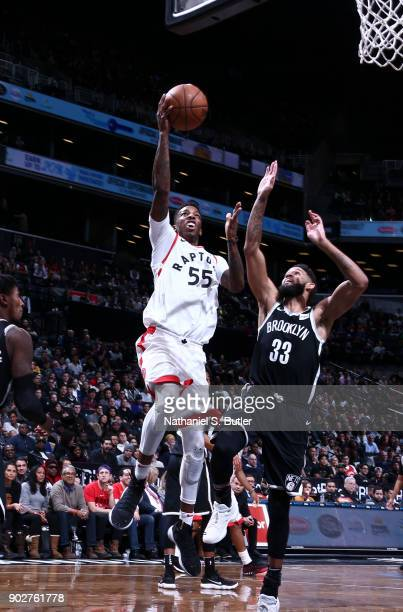 Delon Wright of the Toronto Raptors shoots the ball against the Brooklyn Nets on January 8 2018 at Barclays Center in Brooklyn New York NOTE TO USER...