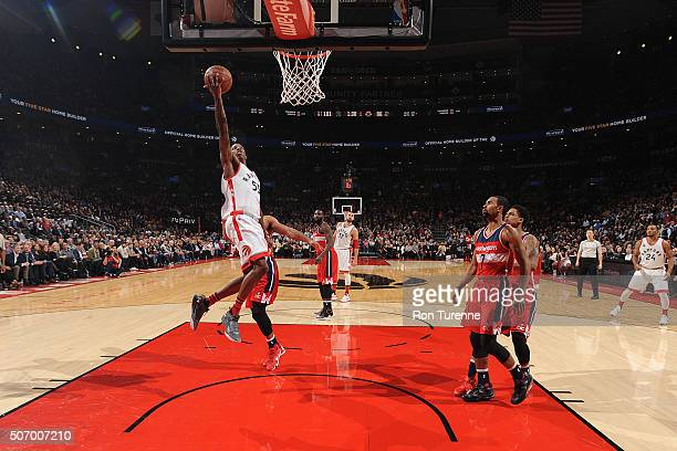 Delon Wright of the Toronto Raptors shoots the ball against the Washington Wizards on January 26 2016 at the Air Canada Centre in Toronto Ontario...