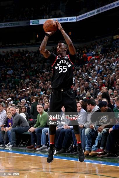Delon Wright of the Toronto Raptors shoots the ball against the Milwaukee Bucks on January 5 2018 at the BMO Harris Bradley Center in Milwaukee...