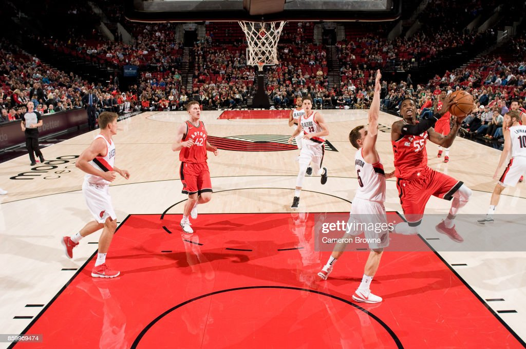 Delon Wright #55 of the Toronto Raptors shoots the ball during the preseason game against the Portland Trail Blazers on October 5, 2017 at the Moda Center Arena in Portland, Oregon.