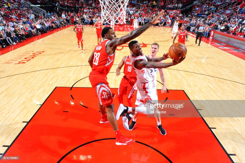 Delon Wright #55 of the Toronto Raptors shoots the ball during the game against the Houston Rockets on November 14, 2017 at the Toyota Center in Houston, Texas.