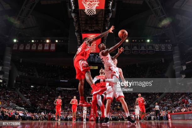 Delon Wright of the Toronto Raptors shoots the ball during the game against the Houston Rockets on November 14 2017 at the Toyota Center in Houston...