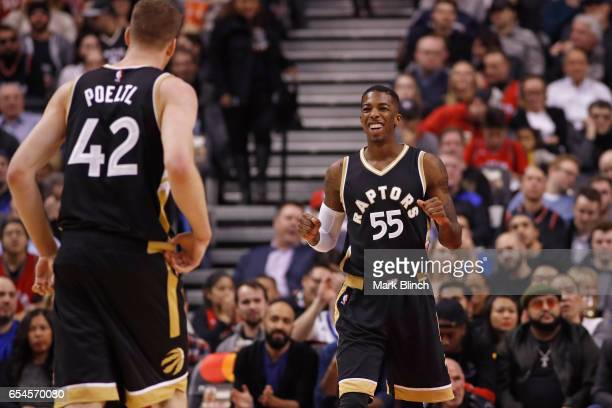 Delon Wright of the Toronto Raptors smiles and walks up court against the Oklahoma City Thunder on March 16 2017 at Air Canada Centre in Toronto...