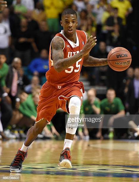 Delon Wright of the Utah Utes brings the ball up the court against the Oregon Ducks during a semifinal game of the Pac12 Basketball Tournament at the...