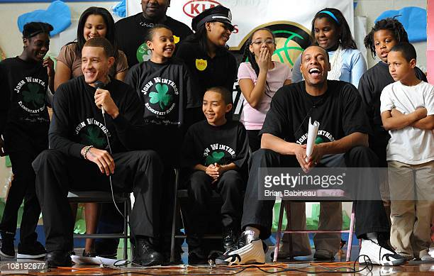 Delonte West and Paul Pierce of the Boston Celtics participate in a school play for the Read to Achieve program on January 20 2011 at the Winthrop...