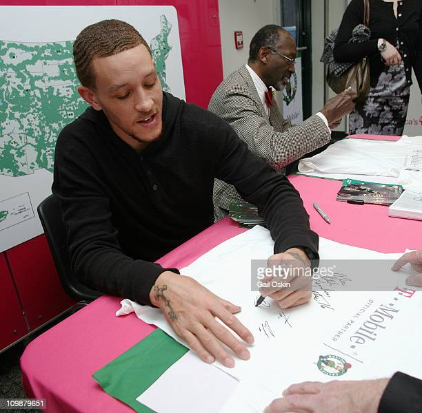 Delonte West and Tom 'Satch' Sanders attend the TMobile celebration of the partnership with Boston Celtics with Tip Off Tuesdays and Meet Greet with...