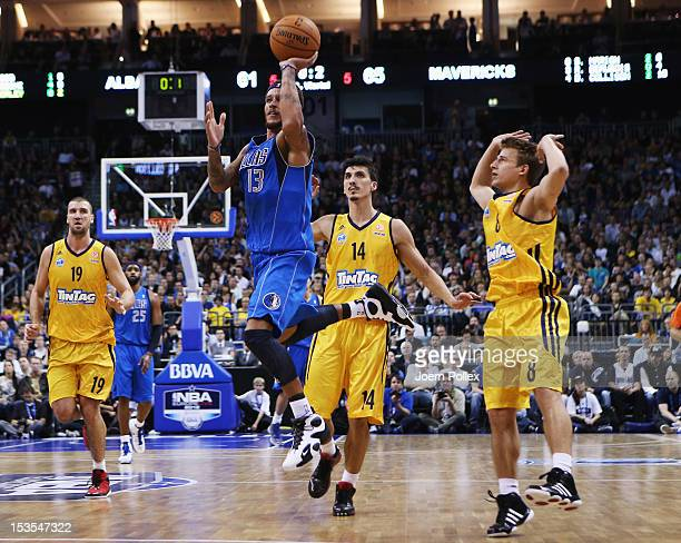 Delonte West of Dallas scores during the NBA Europe Live 2012 Tour match between Alba Berlin and Dallas Mavericks at O2 World on October 6 2012 in...