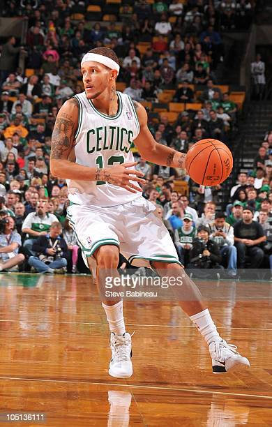 Delonte West of the Boston Celtics looks to make a play against the Toronto Raptors on October 10 2010 at the TD Garden in Boston Massachusetts NOTE...