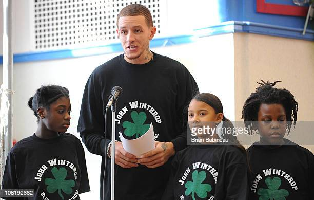 Delonte West of the Boston Celtics participates in a school play for the Read to Achieve program on January 20 2011 at the Winthrop Elementary School...