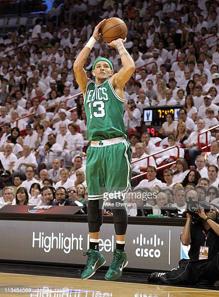 Delonte West of the Boston Celtics shoots during game one of the Eastern Conference Semifinals of the 2011 NBA Playoffs against the Miami Heat at...